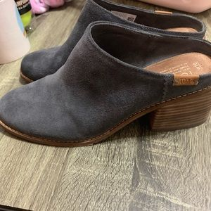 Toms suede grey mules with heel size 10